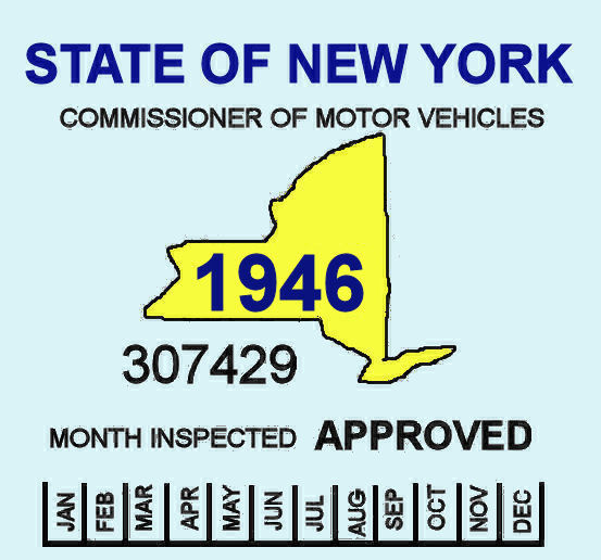 1946 NY Safety Check Inspection Sticker